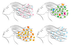 Four seasons. Female head for design. Royalty Free Stock Images