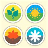 Four seasons flat thin icon set. Vector Royalty Free Stock Photography