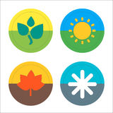 Four seasons flat thin icon set. Vector Stock Image