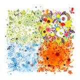 Four seasons frame vector illustration