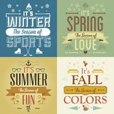 Four Seasons Graphic Illustration Vintage Greeting Cards Stock Photography