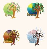 Four seasons greeting banners, vector. Four seasons banners, vector illustration stock illustration