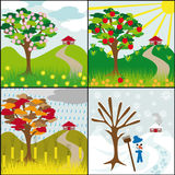 Four seasons on a hill Stock Image