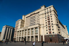 Four Seasons Hotel in the center of Moscow. MOSCOW, RUSSIA - MARCH 10, 2016: Four Seasons Hotel Moscow is modern luxury hotel, opening in October 2014, with royalty free stock photos