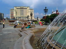 Four Seasons hotel and Manege Square in Moscow. royalty free stock photo
