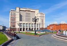 Four Seasons Hotel Moscow and the Historical Museum building in Royalty Free Stock Photo