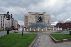 Four seasons hotel in Moscow and Manege Square, blooming flowers Royalty Free Stock Photography