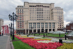 Four seasons hotel in Moscow and Manege Square, blooming flowers Royalty Free Stock Images