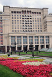 Four seasons hotel in Moscow and Manege Square, blooming flowers Royalty Free Stock Photo