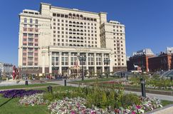 Four Seasons Hotel, view from the Manege Square. Moscow, Russia. Stock Photos
