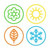 Four seasons icon set vector illustration