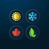 Four seasons icons Stock Photography