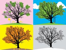 Four seasons illustration Stock Images