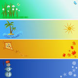 Four seasons illustration banners Stock Photos