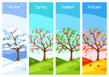 Four seasons. Illustration of tree and landscape in winter, spring, summer, autumn. Royalty Free Stock Photography