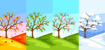 Four seasons. Illustration of tree and landscape in winter, spring, summer, autumn. Stock Photography
