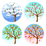 Four seasons. Illustration of tree and landscape in winter, spring, summer, autumn. Stock Photo
