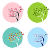 Four Seasons. Illustration of the trre in four seasons, backgrounds set stock illustration