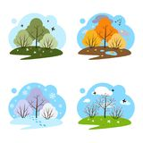 Four seasons. Four illustrations on a white background. Stock Image
