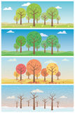 Four seasons landscapes vector illustrations set. Landscape with forest in all four seasons Stock Images