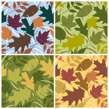 Four Seasons Leaf Pattern. Vector seamless pattern of swirling leaves in four seasonal colorways. Patterns are in Swatches Palette Royalty Free Stock Photos