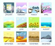 Four seasons month nature landscape winter, summer, autumn, spring vector flat scenery. Four seasons nature landscape by month winter, summer, autumn and spring Royalty Free Stock Images