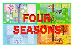 Four seasons nature background  in patchwork style