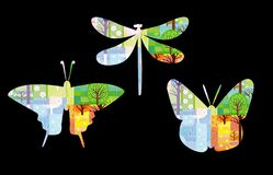 Four seasons nature background in silhouette of butterfly and dragonfly