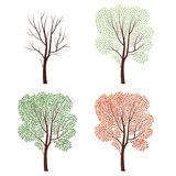 Four seasons nature concept Tree silhouette isolated set. Plants Royalty Free Stock Photos