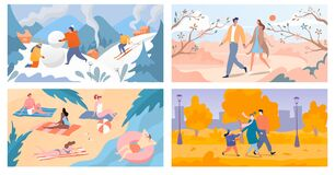 Free Four Seasons Of Year Winter, Spring, Summer And Autumn, People Spend Time Outdoor, Vector Illustration Royalty Free Stock Image - 172925546