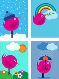 Four seasons pink bird icons - 1 Royalty Free Stock Photos