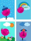 Four seasons pink bird icons - 1. Four seasons pink bird icons, illustration Vector Illustration