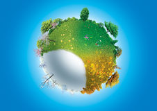 FOUR SEASONS OF PLANET EARTH. Illustration of four seasons on planet Earth Stock Photo