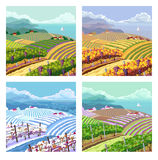 Four seasons. Rural landscapes. Stock Photo