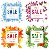 Four Seasons sale. 4 sale banners with seasons specific backgrounds. Vector illustrations set Royalty Free Stock Images