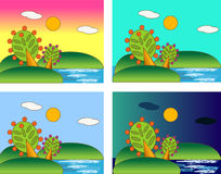 Four seasons of the sea day Stock Images