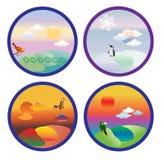 Four seasons set icon Stock Images