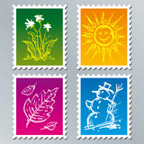 Four seasons. The set of seasonal stamps vector illustration