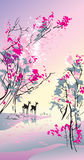 Four seasons: spring. Hand-drawing picture in Chinese traditional painting style, vector illustration Royalty Free Stock Images