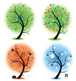 Four seasons - spring, summer, autumn, winter Art. Four different illustrations of trees to symbolise the four different seasons of the year. Spring, summer Royalty Free Stock Photo