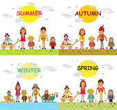 Four seasons - spring, summer, autumn, winter- happy kids isolated on white background. Vector illustration royalty free illustration