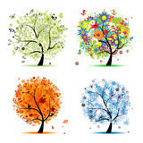 Four Seasons - Spring, Summer, Autumn, Winter Tree Royalty Free Stock Photography