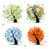 Four seasons-spring, summer, autumn, winter tree vector illustration