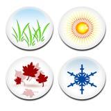 Four seasons stickers Royalty Free Stock Photos
