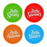 Four seasons stickers set. Hello Winter, Spring, Summer, Autumn lettering Stock Photos