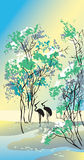 Four seasons: summer. Hand-drawing picture in Chinese traditional painting style, vector illustration Stock Photography