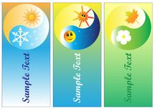 Four seasons with sun and moon banner Royalty Free Stock Photo