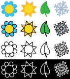 Four seasons symbols in color or black and white Stock Image