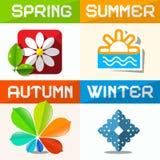 Four Seasons Symbols Royalty Free Stock Photos