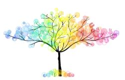 Four seasons tree. Season tree with decorative colored boubles and rounds Stock Photos